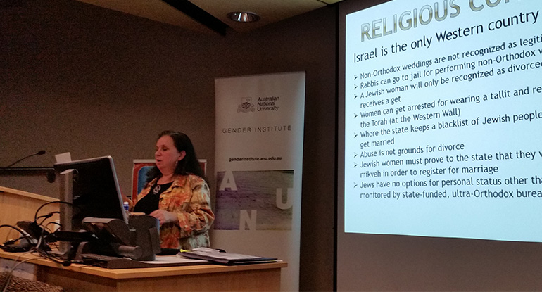 Dr Elana Sztokman speaks on Gender Equity at the ANU in Canberra