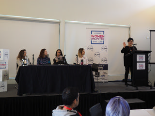 Negba introducing the Women in Leadership Panel